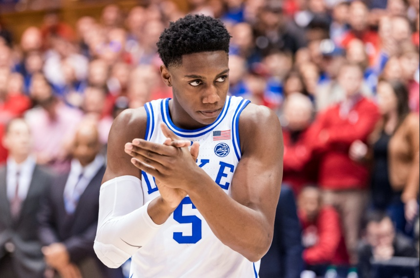 R.J. Barrett First Canadian To Record NCAA Triple Double Rubbing Hands