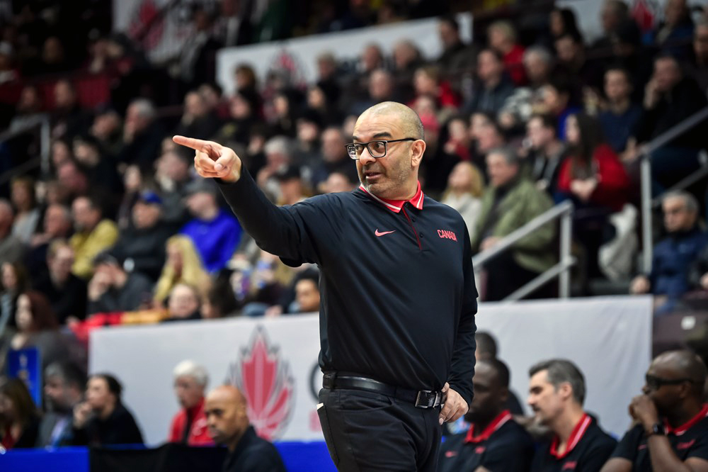 Roy Rana Canada's National Basketball Team Coach Sitting FIBA Qualifiers Pointing