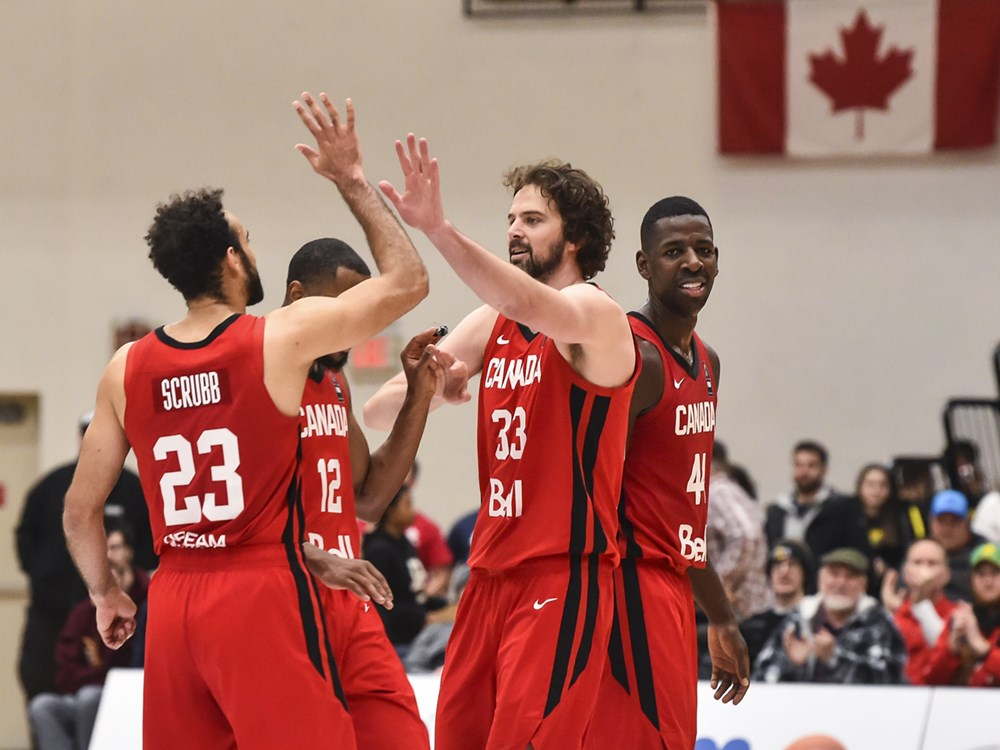 team canada high fives 2020 fiba americup qualifiers against dominican republic