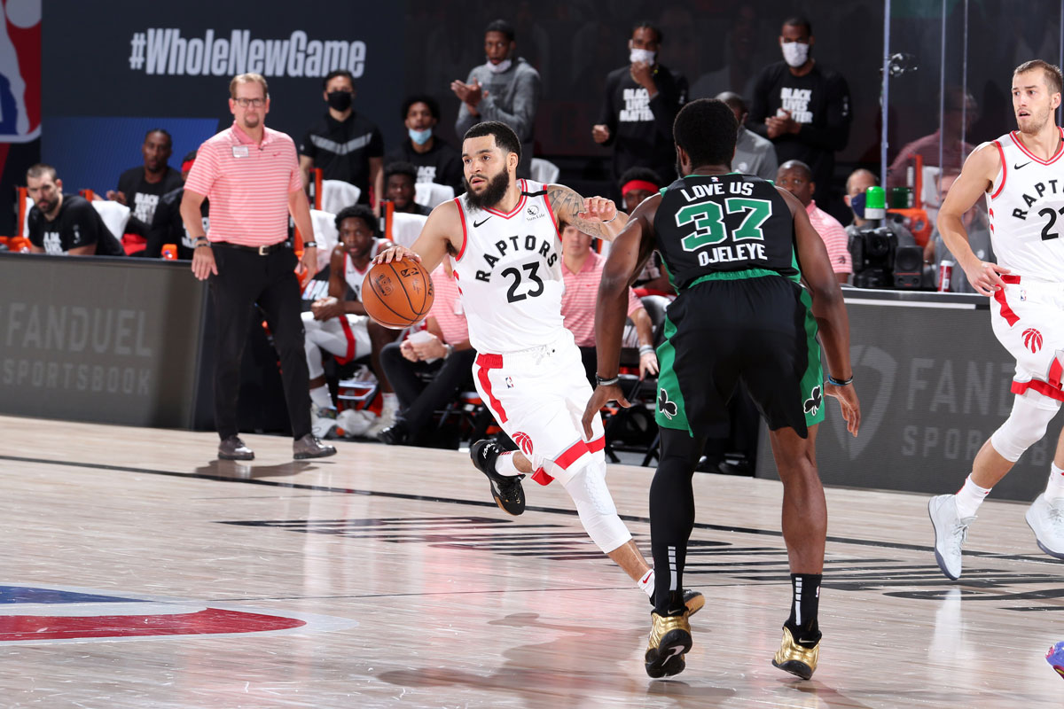 Toronto Raptors Fred Vanvleet Attacks Boston Celtics On The Fast Break 2020 Nba Playoffs