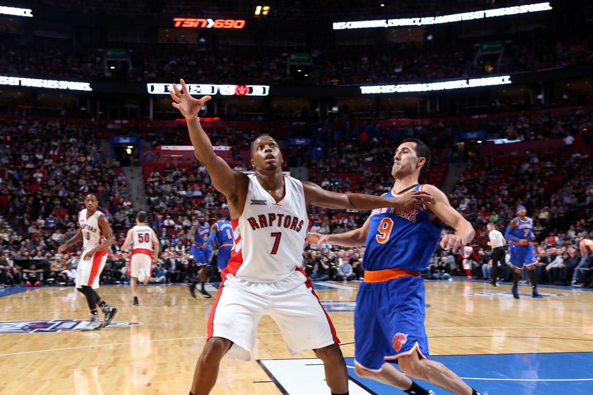 Toronto Raptors Kyle Lowry Receives Inbound Pass Against New York Knicks