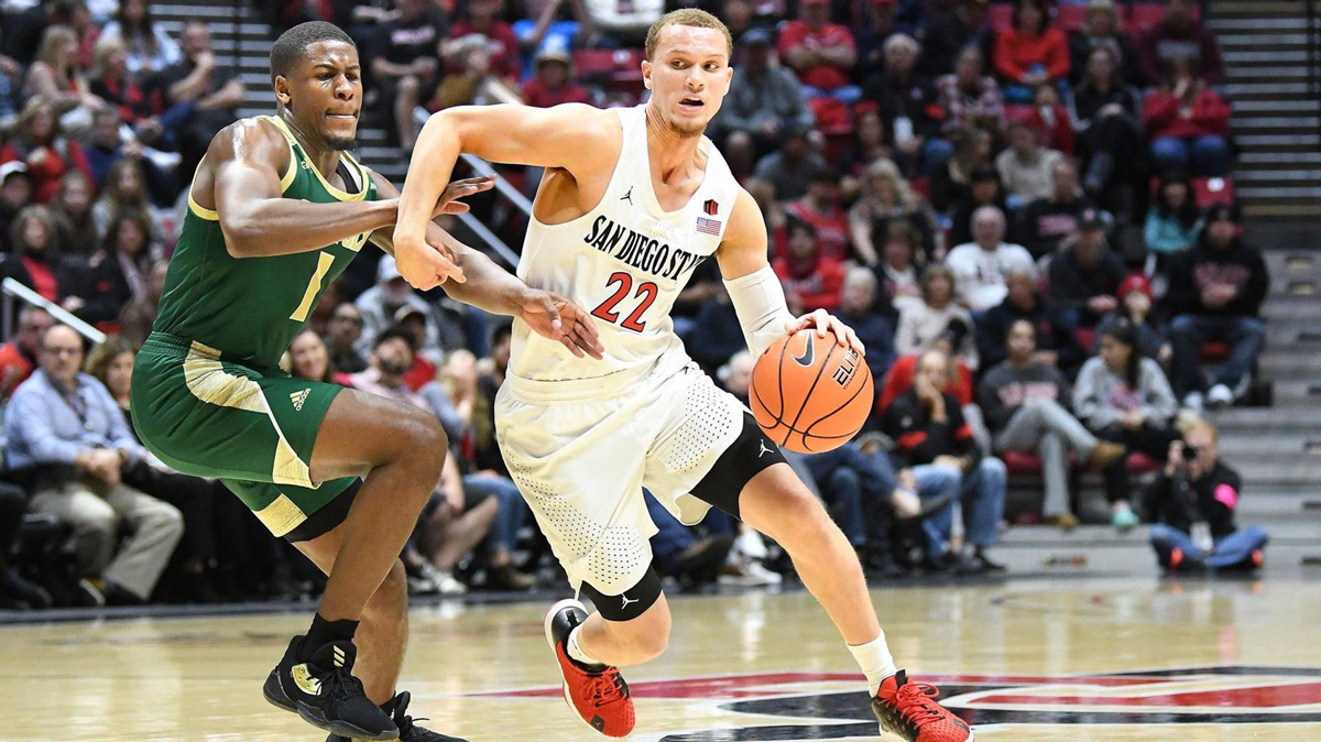 Malachi Flynn breaks down a defender while playing for the San Diego State Aztecs this past season. The undersized point guard went No. 29 overall to the Toronto Raptors in the 2020 NBA Draft