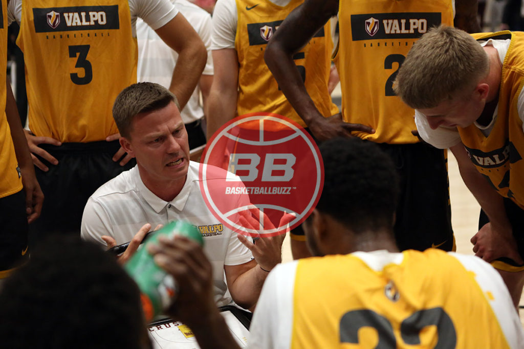 Valparaiso Basketball Head Coach Matt Lottich In The Huddle Against Canadian Basketball Powerhouse Carleton Ravens