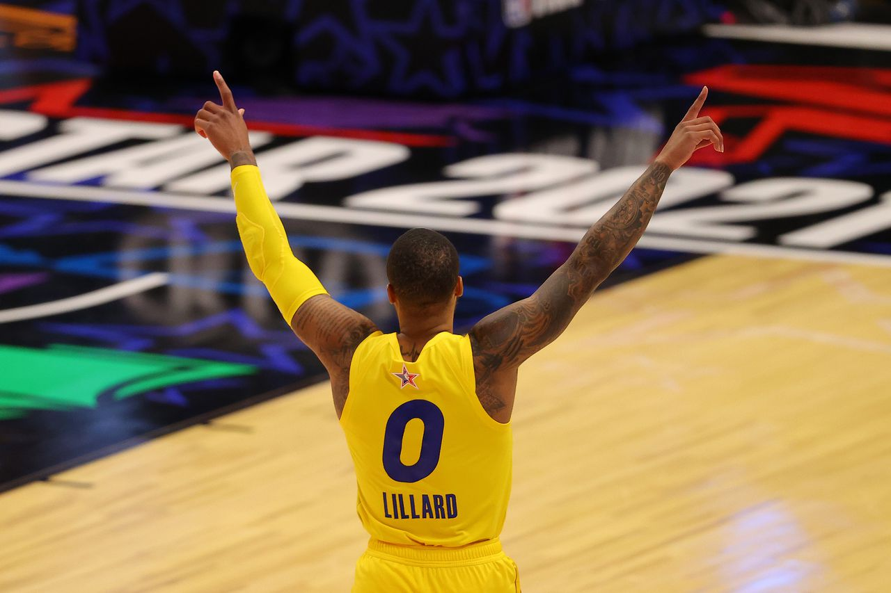 Portland Trail Blazers Damian Lillard Celebrates After Knocking Down A Half-Court Shot To Give Team Lebron A 170-150 Victory Over Team Durant At The 2021 Nba All-Star Game In Atlanta
