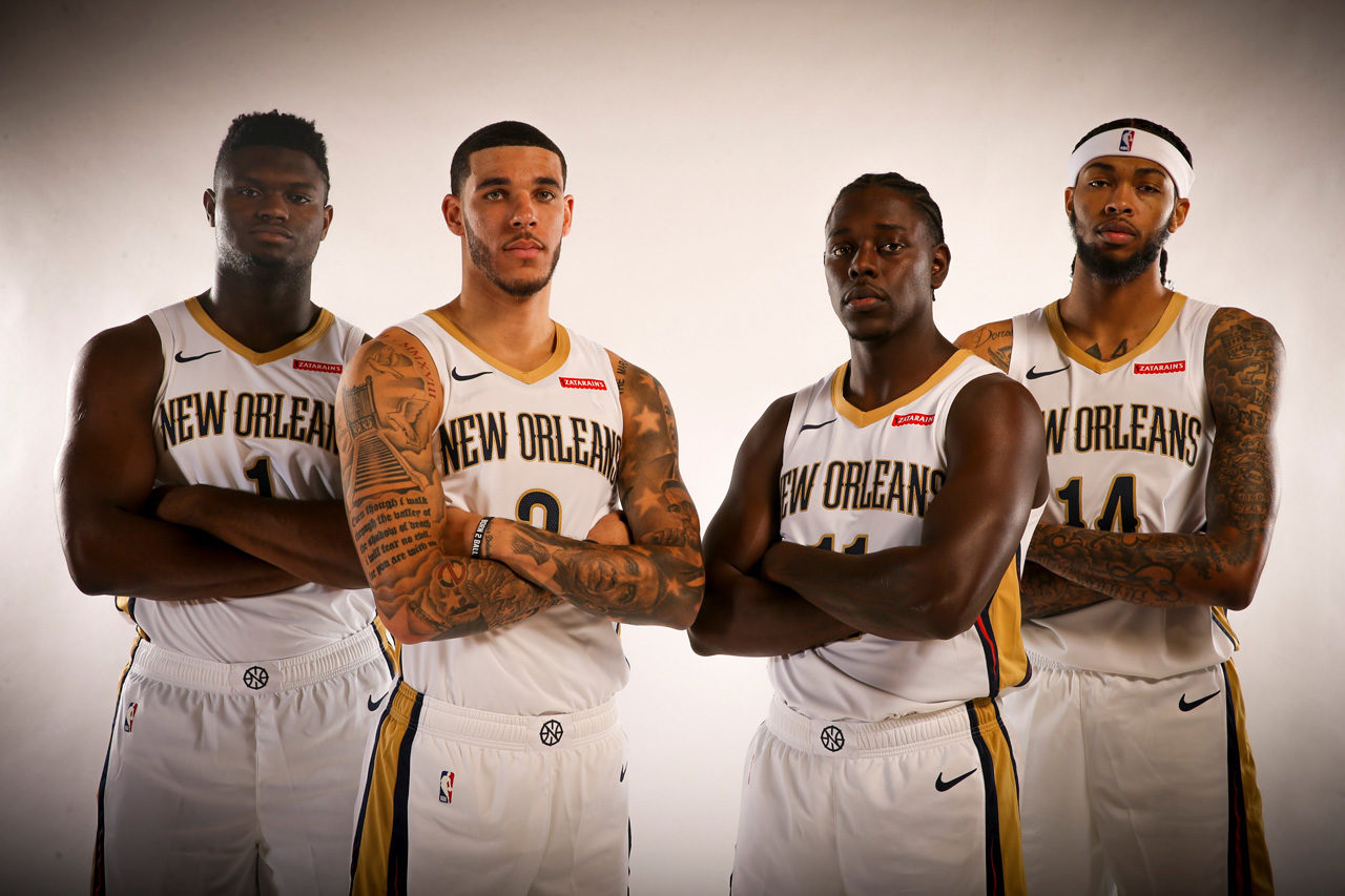 Zion Williamson Lonzo Ball Jrue Holiday Brandon Ingram New Orleans Pelicans 2019 NBA Media Day
